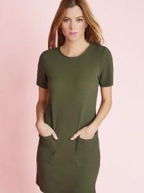 Womens Khaki Front Pocket Dress