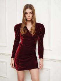 Womens ENVY Burgundy Velvet Dress