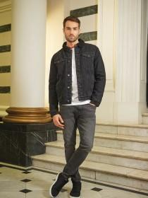 Mens Grey Stretch Skinny Jeans