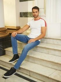 Mens Blue Stretch Skinny Jeans