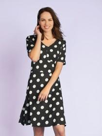 Womens Monochrome Spot Dress