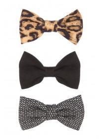 Womens Black 3PK Mini Bow Headbands