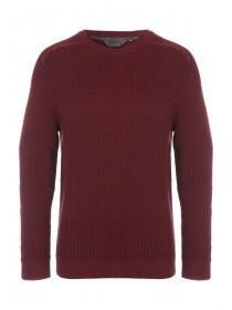 Mens Red Waffle Cable Knitted Jumper