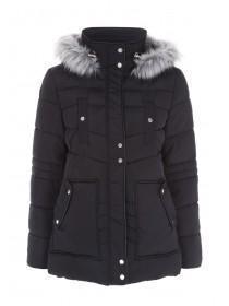 Womens Black Padded Parka Coat with Faux Fur Trim Hood