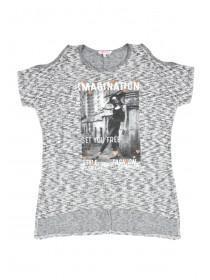 Older Girls Grey Cold Shoulder T-Shirt