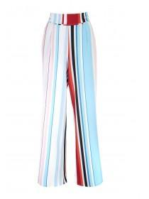 Womens Blue Striped Palazzo Trousers
