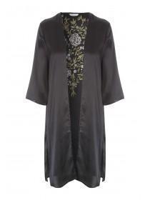 Womens Black Embroidered Satin Kimono