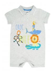 Baby Boys Grey Croc-O-Pile Romper