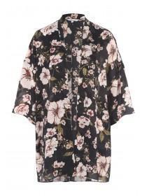 Womens Black Printed Chiffon Kimono