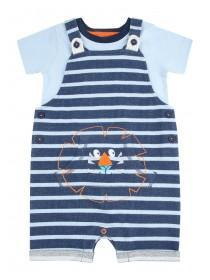 Baby Boys Blue Stripe Dungaree Set