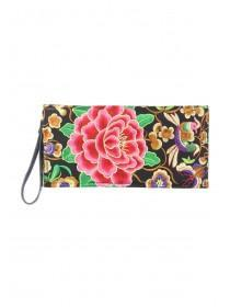 Womens Floral Embroidered Clutch
