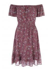 Womens Purple Georgette Bardot Dress