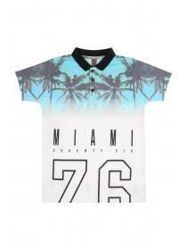 Older Boys White Miami 72 Sublimation Polo Shirt