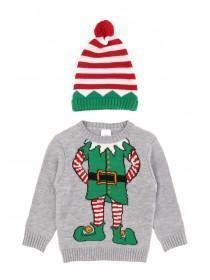 Younger Boys Grey Elf Jumper with Hat