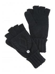 Womens Black Fliptop Cable Knit Glove