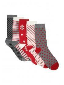 Womens 5PK Design Socks