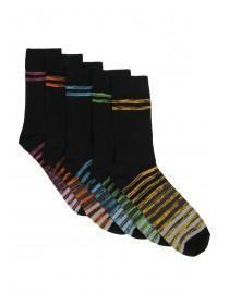 Mens 5PK Black Striped Design Socks