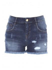 Jane Norman Mid Blue Distressed Denim Shorts