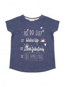 Younger Girls Dark Blue Printed T-Shirt