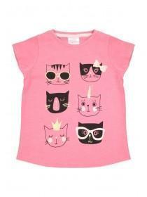 Younger Girls Pink Cat T-Shirt