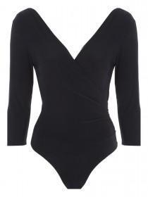 Jane Norman Black 3/4 Sleeve Bodysuit
