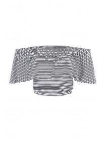 Jane Norman Monochrome Stripe Ruffle Crop Top