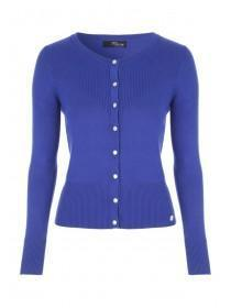Jane Norman Blue Ribbed Popper Front Cardigan