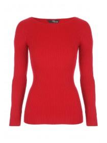 Jane Norman Red Ribbed Cut Out Sleeve Jumper