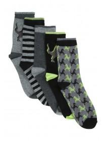Boys 5PK Black Dinosaur Design Socks