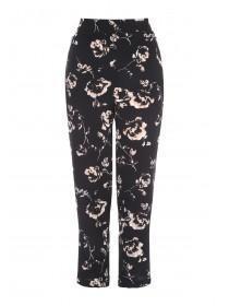 Womens Rose Print Zip Detail Trousers