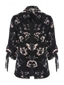 Womens Floral Print Tie Sleeve Jacket
