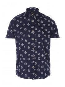 Mens Blue Ditsy Print Linen Shirt