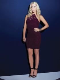 Jane Norman Red Lace Sequin Racer Dress