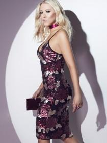 Jane Norman Floral Sequin Strappy Dress
