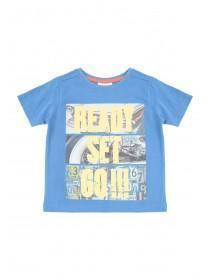Younger Boys Blue Ready Set Go T-Shirt