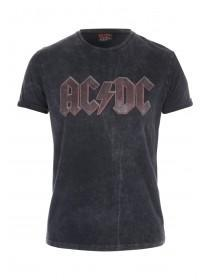 Mens Black Washed ACDC T-Shirt