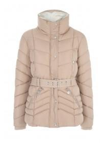 Womens Beige Padded Belted Jacket