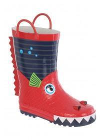 Younger Boys Red Dragon Character Handle Welly Boots