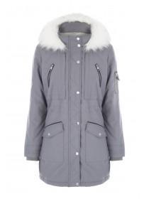 Womens Grey Parka Coat