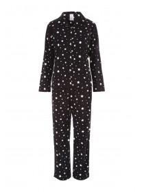 Womens Black Star Print Pyjamas