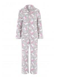 Womens Grey Unicorn Pyjama Set