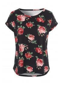 Womens Black Rose Print Top