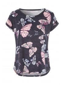 Womens Charcoal Short Sleeved Soft Touch Top