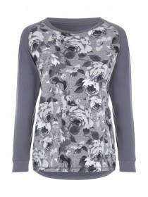 Womens Charcoal Floral Print Lounge Top