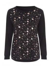 Womens Black Star Lounge Top