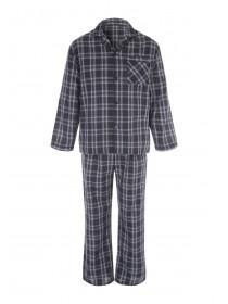 Mens Blue Checked Pyjama Shirt & Bottoms Set