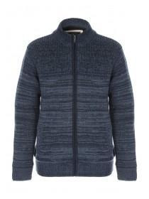 Mens Blue Funnel Neck Zip Up Jumper