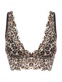 Womens Leopard Print Lace Bralette