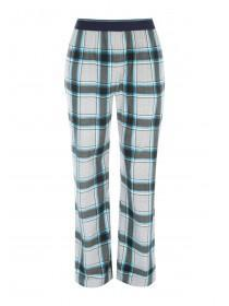 Mens Blue Fleece Check Pyjama Trousers