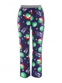 Mens Blue Fleece Christmas Pyjama Trousers